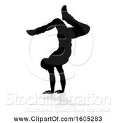 Vector Illustration of Silhouetted Male Dancer, with a Reflection or Shadow, on a White Background by AtStockIllustration