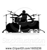 Vector Illustration of Silhouetted Male Drummer, with a Reflection or Shadow, on a White Background by AtStockIllustration