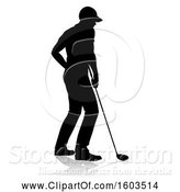 Vector Illustration of Silhouetted Male Golfer, with a Reflection or Shadow, on a White Background by AtStockIllustration