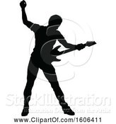 Vector Illustration of Silhouetted Male Guitarist by AtStockIllustration