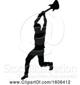 Vector Illustration of Silhouetted Male Guitarist Smashing His Guitar by AtStockIllustration