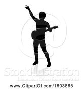 Vector Illustration of Silhouetted Male Guitarist, with a Reflection or Shadow, on a White Background by AtStockIllustration