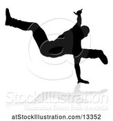 Vector Illustration of Silhouetted Male Hip Hop Dancer with a Reflection or Shadow, on a White Background by AtStockIllustration