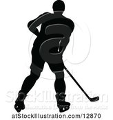 Vector Illustration of Silhouetted Male Ice Hockey Player by AtStockIllustration