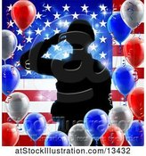 Vector Illustration of Silhouetted Male Military Veteran Saluting over an American Flag and Balloons by AtStockIllustration