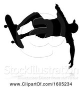 Vector Illustration of Silhouetted Male Skateboarder with a Reflection or Shadow, on a White Background by AtStockIllustration