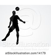 Vector Illustration of Silhouetted Male Soccer Player Heading a Ball over Gray, with Text Space by AtStockIllustration
