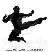 Vector Illustration of Silhouetted Martial Artist Kicking by AtStockIllustration