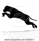 Vector Illustration of Silhouetted Mastiff Dog Jumping, with a Reflection or Shadow, on a White Background by AtStockIllustration