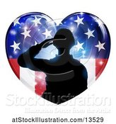 Vector Illustration of Silhouetted Military Veteran or Soldier Saluting in an American Themed Flag Heart by AtStockIllustration