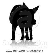 Vector Illustration of Silhouetted Pig, with a Reflection or Shadow, on a White Background by AtStockIllustration