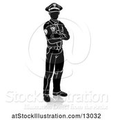Vector Illustration of Silhouetted Police Guy, with a Reflection or Shadow, on a White Background by AtStockIllustration