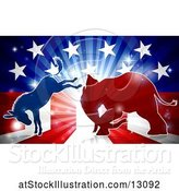 Vector Illustration of Silhouetted Political Democratic Donkey and Republican Elephant Fighting over an American Design and Burst by AtStockIllustration