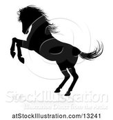 Vector Illustration of Silhouetted Rearing Horse with a Shadow on a White Background by AtStockIllustration
