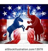 Vector Illustration of Silhouetted Rearing Political Democratic Donkey and Republican Elephant over an American Design and Burst by AtStockIllustration