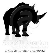 Vector Illustration of Silhouetted Rhino, with a Reflection or Shadow by AtStockIllustration
