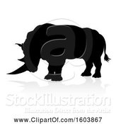 Vector Illustration of Silhouetted Rhino, with a Reflection or Shadow, on a White Background by AtStockIllustration
