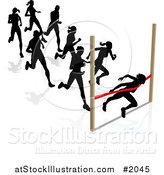 Vector Illustration of Silhouetted Runners, a Woman Breaking Through the Finish Line by AtStockIllustration