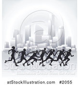 Vector Illustration of Silhouetted Runners Racing Through a City by AtStockIllustration