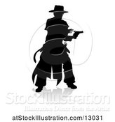 Vector Illustration of Silhouetted Shooting Cowboy, with a Reflection or Shadow, on a White Background by AtStockIllustration