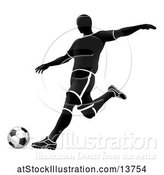 Vector Illustration of Silhouetted Soccer Player in Action by AtStockIllustration
