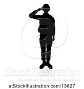Vector Illustration of Silhouetted Soldier Saluting, with a Reflection or Shadow, on a White Background by AtStockIllustration