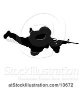 Vector Illustration of Silhouetted Soldier Sniper, with a Reflection or Shadow, on a White Background by AtStockIllustration