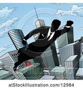 Vector Illustration of Silhouetted Super Businessman Flying Through a City by AtStockIllustration