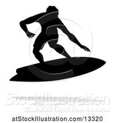 Vector Illustration of Silhouetted Surfer with a Reflection or Shadow, on a White Background by AtStockIllustration