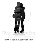 Vector Illustration of Silhouetted Teenage Girls Hugging, with a Reflection or Shadow, on a White Background by AtStockIllustration