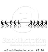 Vector Illustration of Silhouetted Tug of War Business Teams by AtStockIllustration