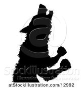 Vector Illustration of Silhouetted Werewolf Beast Howling and Transforming by AtStockIllustration