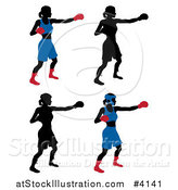 Vector Illustration of Silhouetted Women Boxing by AtStockIllustration