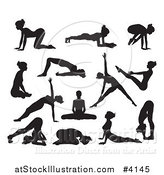 Vector Illustration of Silhouetted Women in Different Yoga Poses by AtStockIllustration