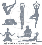 Vector Illustration of Silhouetted Yoga Women by AtStockIllustration