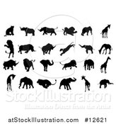 Vector Illustration of Silhoutted Elephants, Rhinoceroses, Lions and Giraffes by AtStockIllustration
