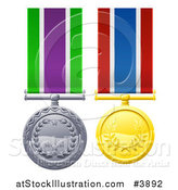 Vector Illustration of Silver and Gold Military Style Medals on Striped Ribbons by AtStockIllustration