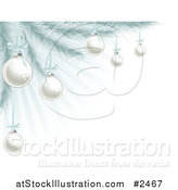 Vector Illustration of Silver Christmas Baubles on a Tree over Blue Rays by AtStockIllustration