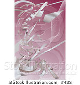 Vector Illustration of Silver Technology Scraps Exploding over Pink by AtStockIllustration