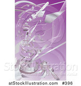 Vector Illustration of Silver Technology Scraps Exploding over Purple by AtStockIllustration