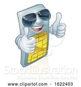 Vector Illustration of Sim Card Cool Shades Thumbs up Mascot by AtStockIllustration