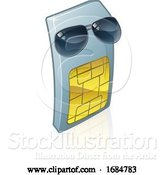 Vector Illustration of Sim Card Cool Sunglasses Mobile Phone by AtStockIllustration
