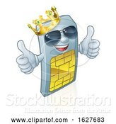 Vector Illustration of Sim Card King Cool Mobile Phone Mascot by AtStockIllustration