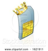 Vector Illustration of Sim Card King Mobile Phone Character by AtStockIllustration