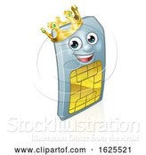 Vector Illustration of Sim Card King Mobile Phone Mascot by AtStockIllustration