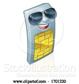 Vector Illustration of Sim Card Mobile Phone Cool Shades Mascot by AtStockIllustration