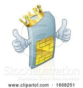 Vector Illustration of Sim Card Mobile Phone King Mascot by AtStockIllustration