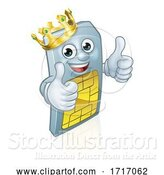 Vector Illustration of Sim Card Mobile Phone King Thumbs up Mascot by AtStockIllustration