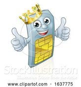 Vector Illustration of Sim Card Mobile Phone Thumbs up King Mascot by AtStockIllustration