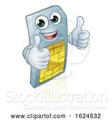 Vector Illustration of Sim Card Mobile Phone Thumbs up Mascot by AtStockIllustration